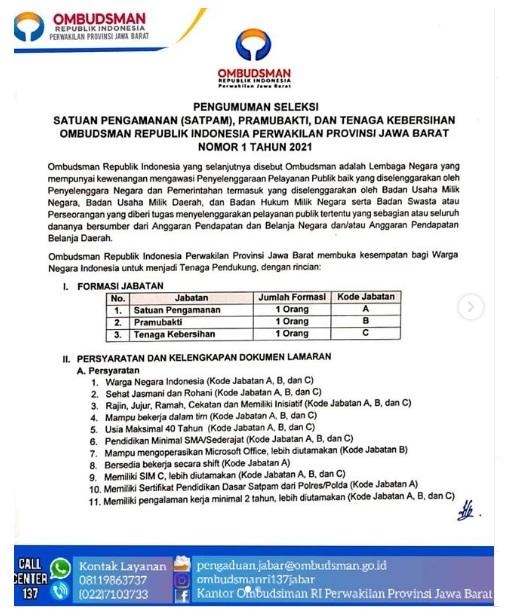 Lowongan Kerja Tenaga Pendukung Ombudsman RI Tingkat SMA SMK Bulan Januari 2021