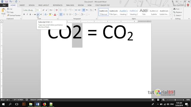 Cara membuat symbol derajat dan rumus kimia di word