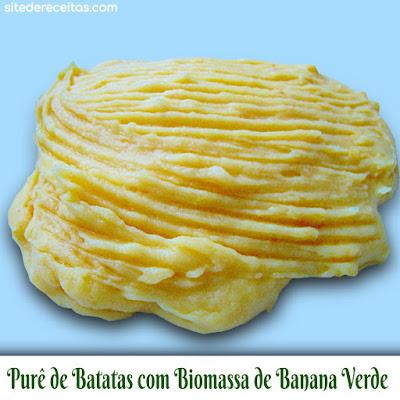 Purê de batatas com biomassa de banana verde