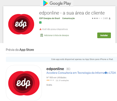 Imagem das Paginas onde baixar o Aplicativo oficial da EDP Escelsa