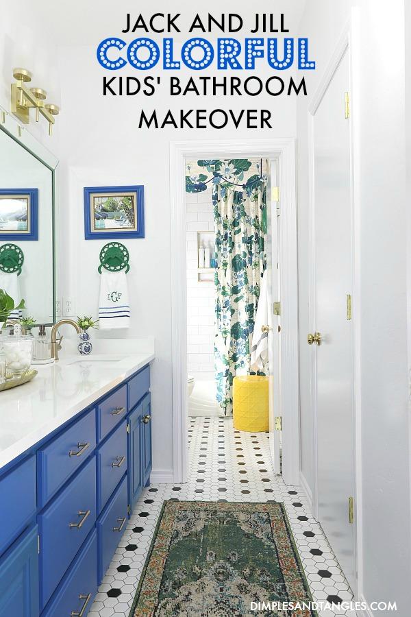 white subway tile, blue painted bathroom vanity, delta trinsic faucets, behr mondrian blue paint, brass bathroom fixtures, black and white hex tile floors