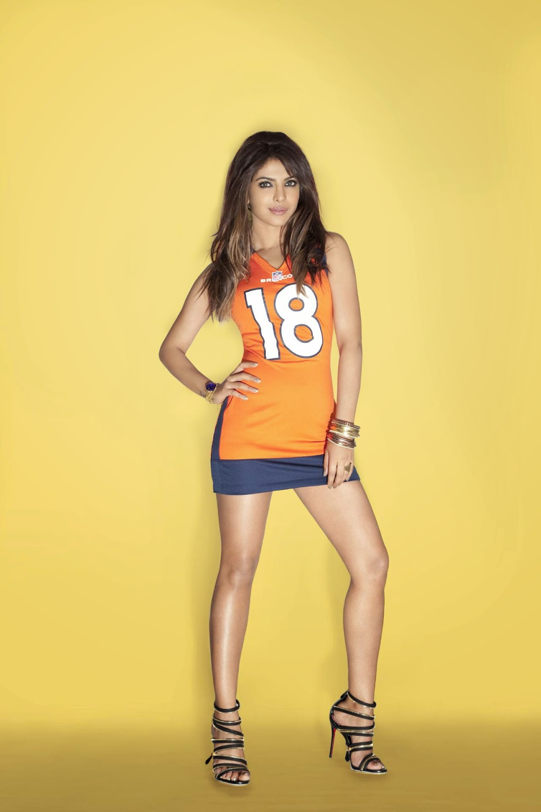 Priyanka Chopra's Sexy Legs in NFL Jersey Mini-dress