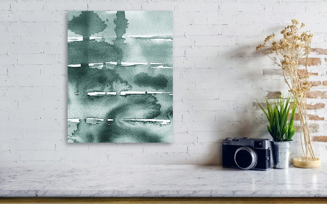 Gray Abstract Watercolor Painting for interior decor Irina Sztukowski
