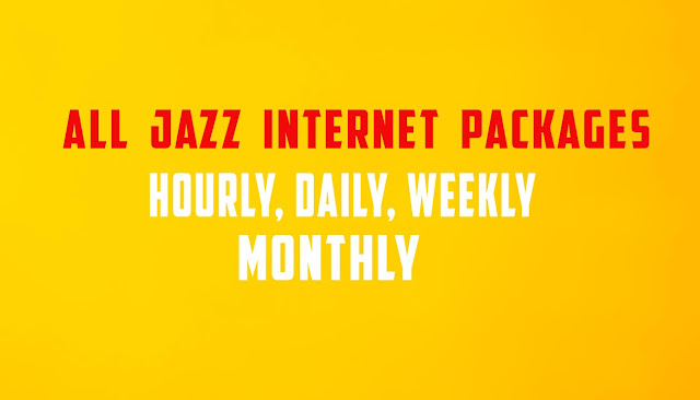 Jazz Internet Packages Hourly, Daily, Weekly And Monthly