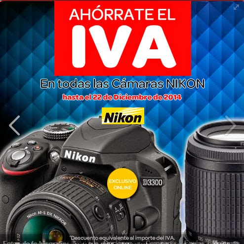 Oferta de cámaras de fotos Nikon sin IVA