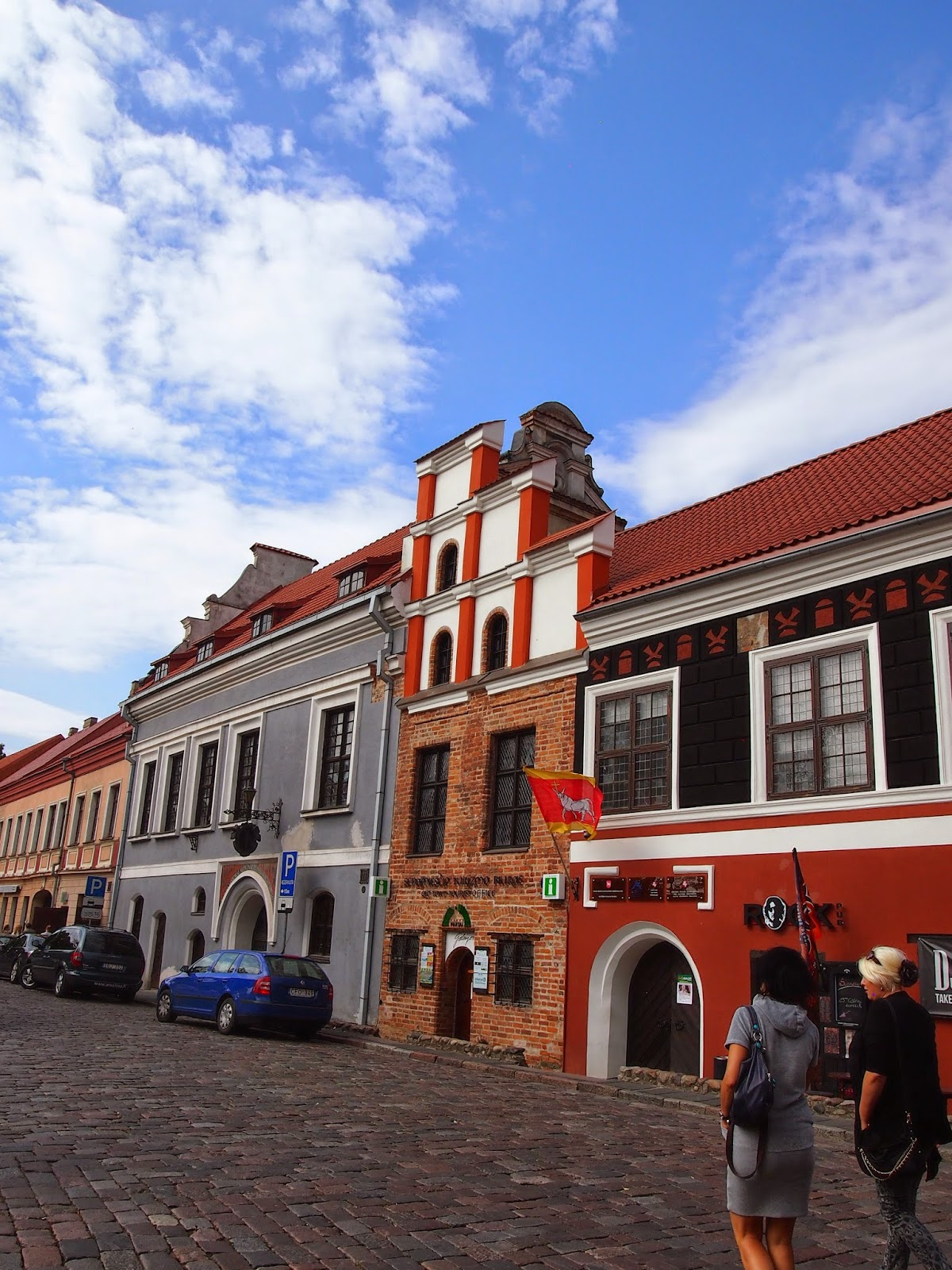 bright blue skies and red buildings in the Kaunas old town