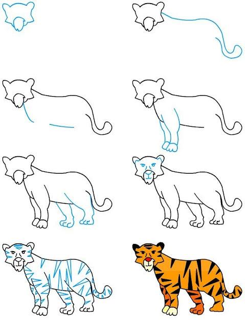 رسم نمر للاطفال