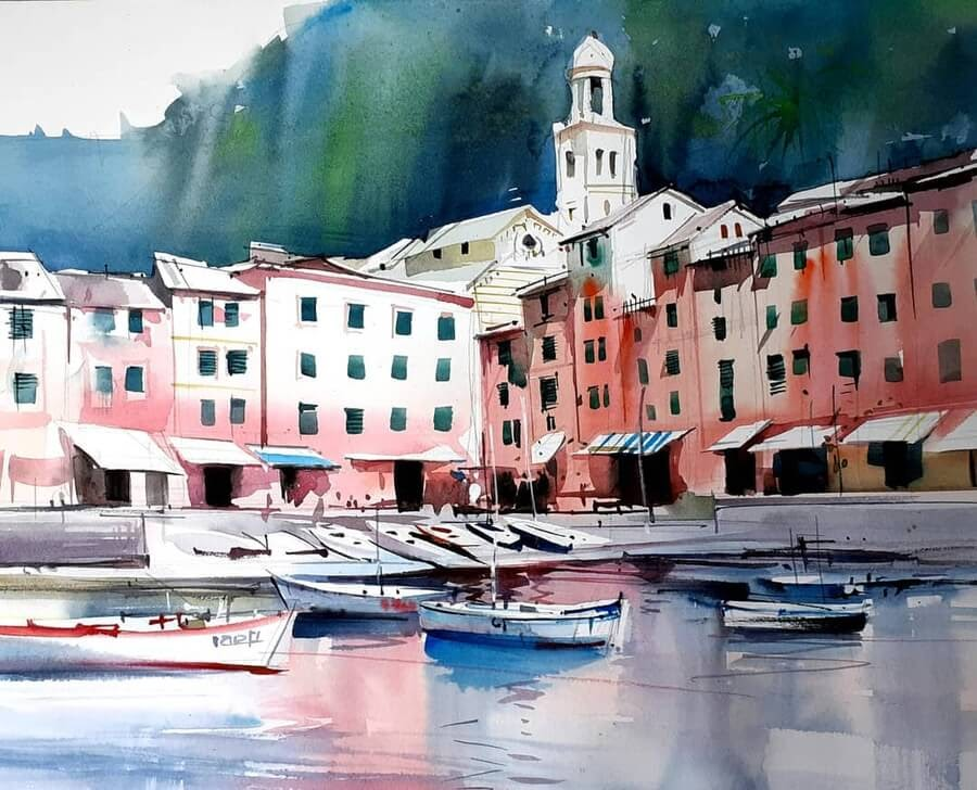 05-Boats-in-the-harbour-Paintings-Milind-Mulick-www-designstack-co