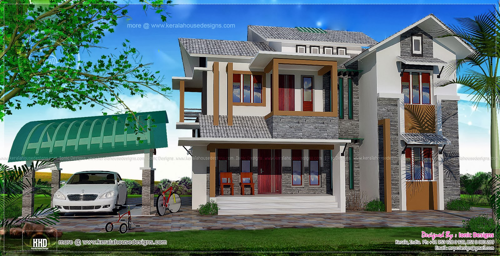 Two Storied 5 Bedroom House In 2030 Sq Feet Kerala Home