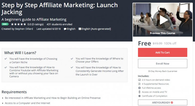 [100% Off] Step by Step Affiliate Marketing: Launch Jacking| Worth 19,99$