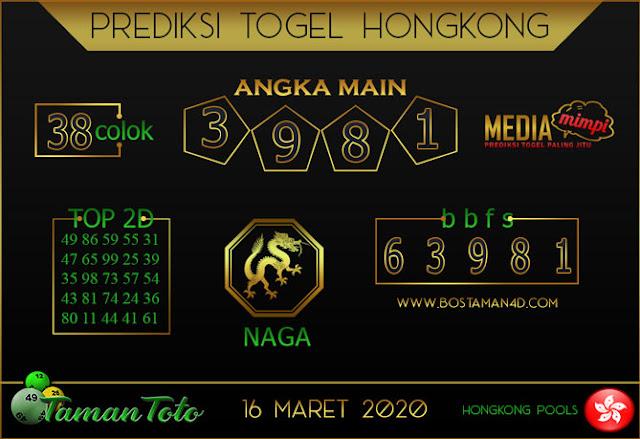 Prediksi Togel HONGKONG TAMAN TOTO 16 MARET 2020