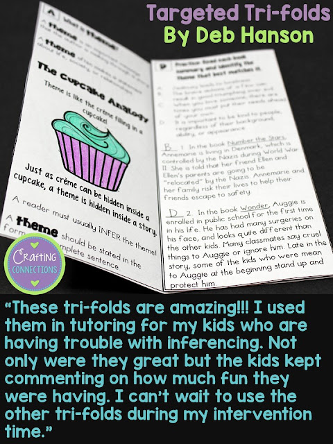 Small group instruction and targeted intervention is known to improve reading comprehension skills. Learn about my Targeted Tri-folds designed for upper elementary students and why teachers love it. These trifolds target ten different reading skills, including main idea, context clues, making inferences, author's purpose, and much, much more! Reading Comprehension