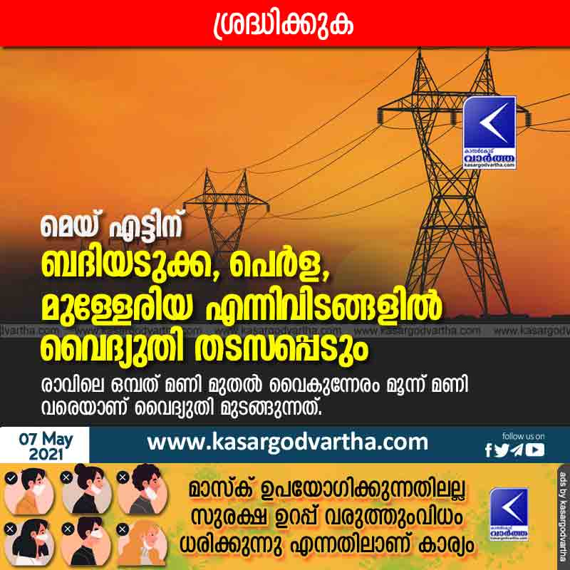 Power outages in Badiadukka, Perla and Mulleriya on May 8