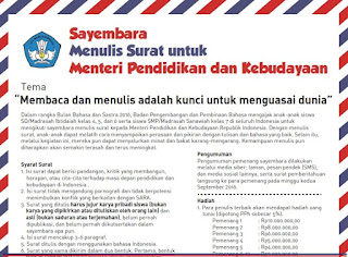 Sayembara Menulis Surat untuk Menteri Pendidikan dan Kebudayaan Republik Indonesia