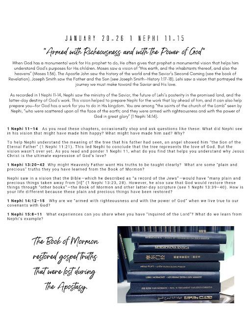 Come Follow Me study printable January 20-26