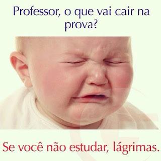 Arte em fundo claro, foto em close de um bebezinho loiro com bochechas rosadas chorando com os olhinhos fechados, franzindo o rosto com a boca entreaberta. Acima, a pergunta: Professor, o que vai cair na prova? Abaixo, a resposta: Se você não estudar, lágrimas.