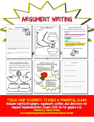 Common Core Argument Writing with Visual Aids & Graphic Organizers