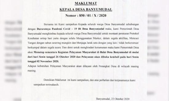 Antisipasi Penyebaran Covid-19, Pemdes Banyumudal Hentikan Sementara Pelayanan di Balai Desa
