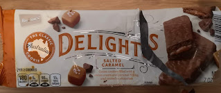 Outer packaging for Benton's Caramel Delights Cookies, from Aldi