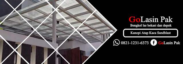 harga atap kanopi kaca sandblast per meter persegi