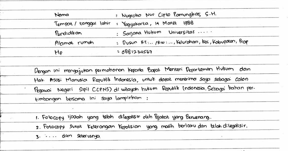 Contoh Surat Lamaran Kerja Tulis Tangan Contohsurat Pro
