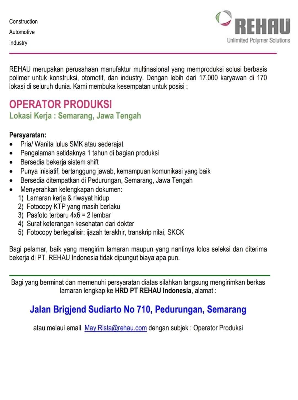Dibuka Lowongan Kerja Posisi Operator Produksi di PT Rehau Indonesia Semarang