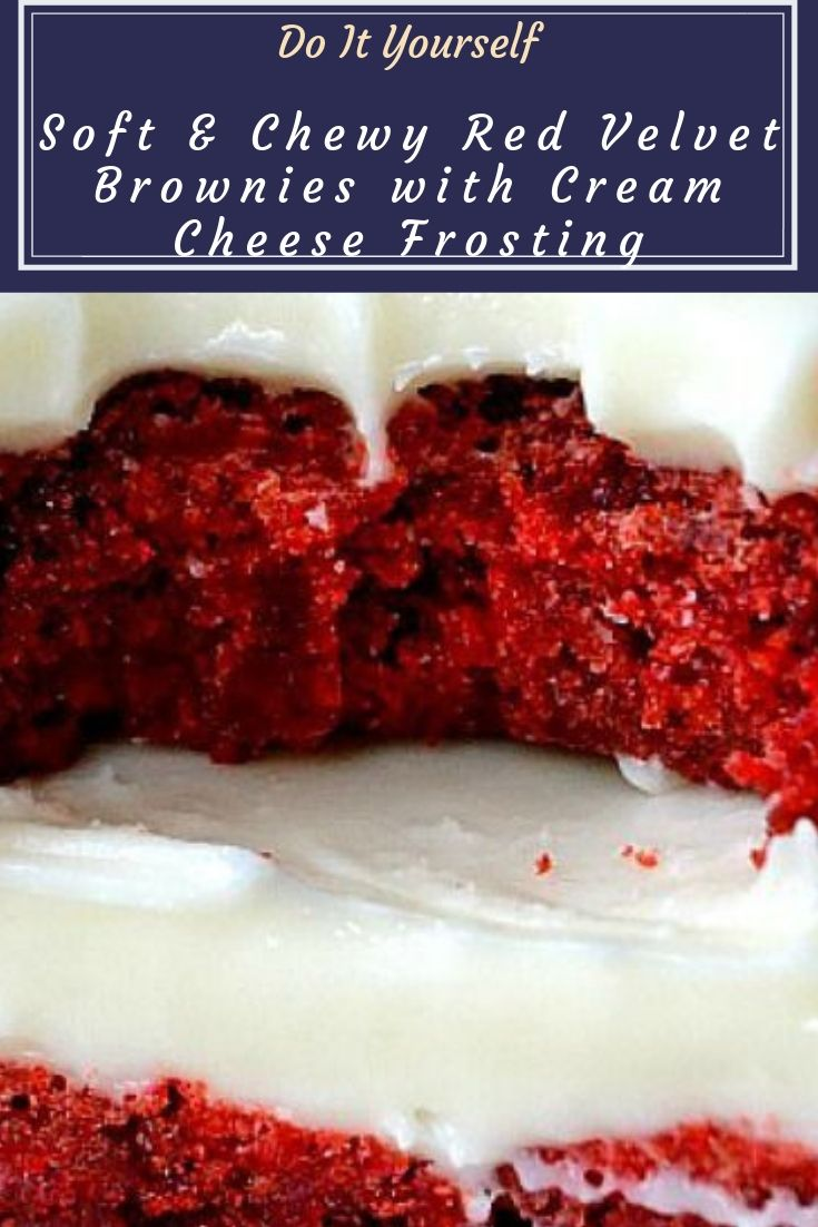 Soft & Chewy Red Velvet Brownies with Cream Cheese Frosting - These Red Velvet Brownies with Cream Cheese Frosting are awesome! Soft, chewy, fudgy and moist, they're topped with a decadently smooth cream cheese icing. Yum!