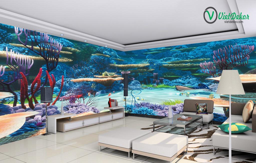 Tranh 3d dán tường phong cảnh dưới đáy biển