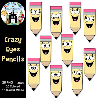 Crazy Eyes Pencils Clipart