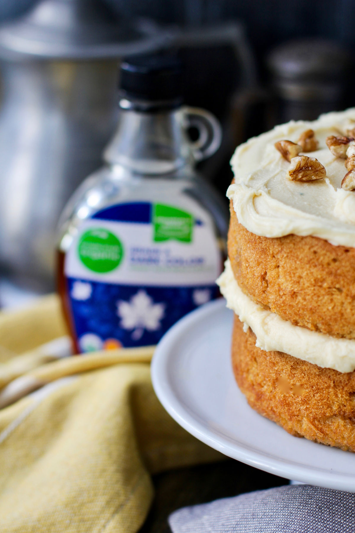 Maple cake and maple syrup.