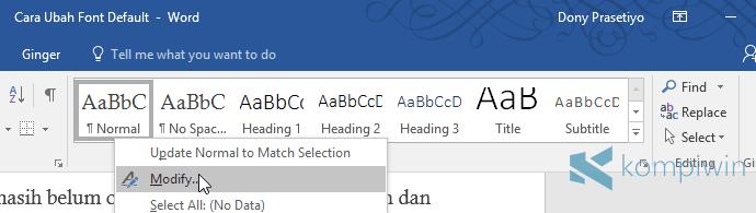 cara memodifikasi tampilan microsoft word