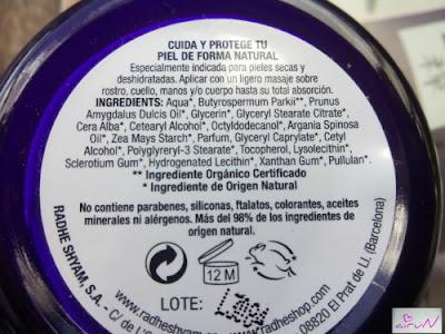 ingredientes crema karite organica radhe shyam
