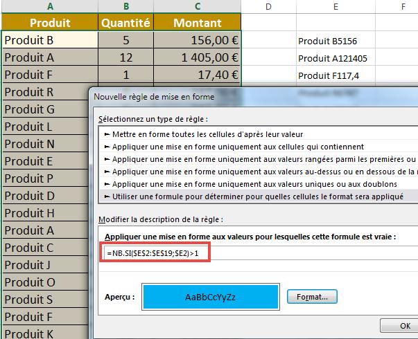 Détecter des valeurs en double en utilisant NBSI