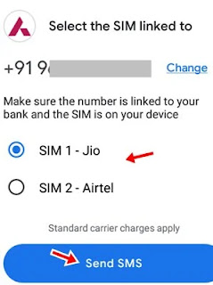 first select the sim linked to bank account and click send sms