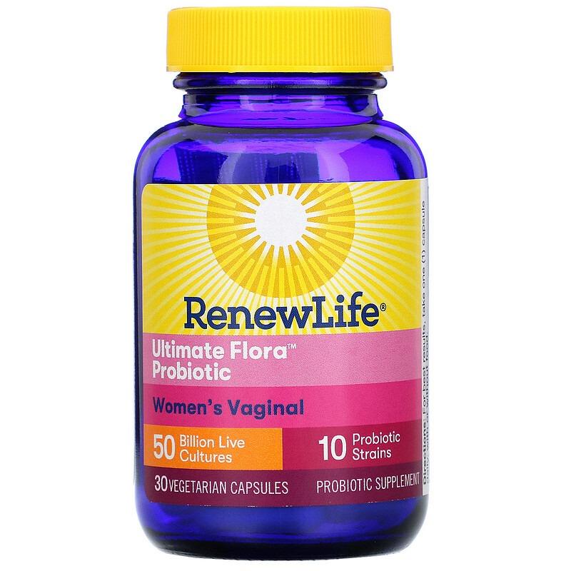 Renew Life, Пробиотики Ultimate Flora для женского вагинального здоровья, 50 млрд живых культур, 30 вегетарианских капсул