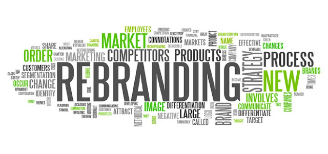 An image that has texts of the word Rebranding and other related words to Digital Marketing.