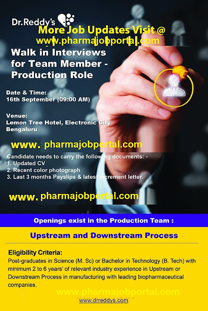 Dr.Reddy's - Walk-In Interviews for Team Member - Production at 16 Sep.