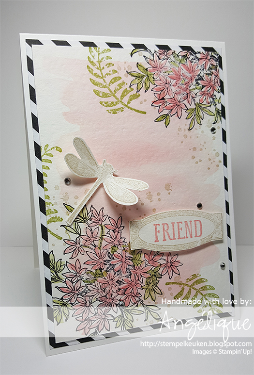 http://stempelkeuken.blogspot.com De Stempelkeuken Awesomely Artistic, Aqua Painters, Archival Black, Blushing Bride, Sahara Sand, Pear Pizzazz, Rhinestone Basic, Neutrals DSP, Whisper White Thick Cardstock, Aquarelleren, Techniek, Workshop