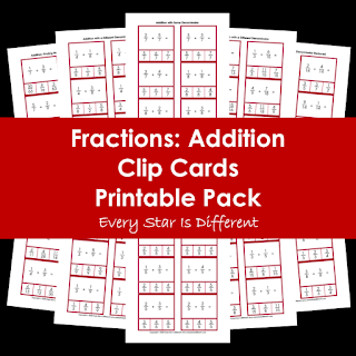 Fractions: Addition Clip Cards Printable Pack