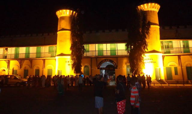 night view and huge crowed in the front of cellular jail