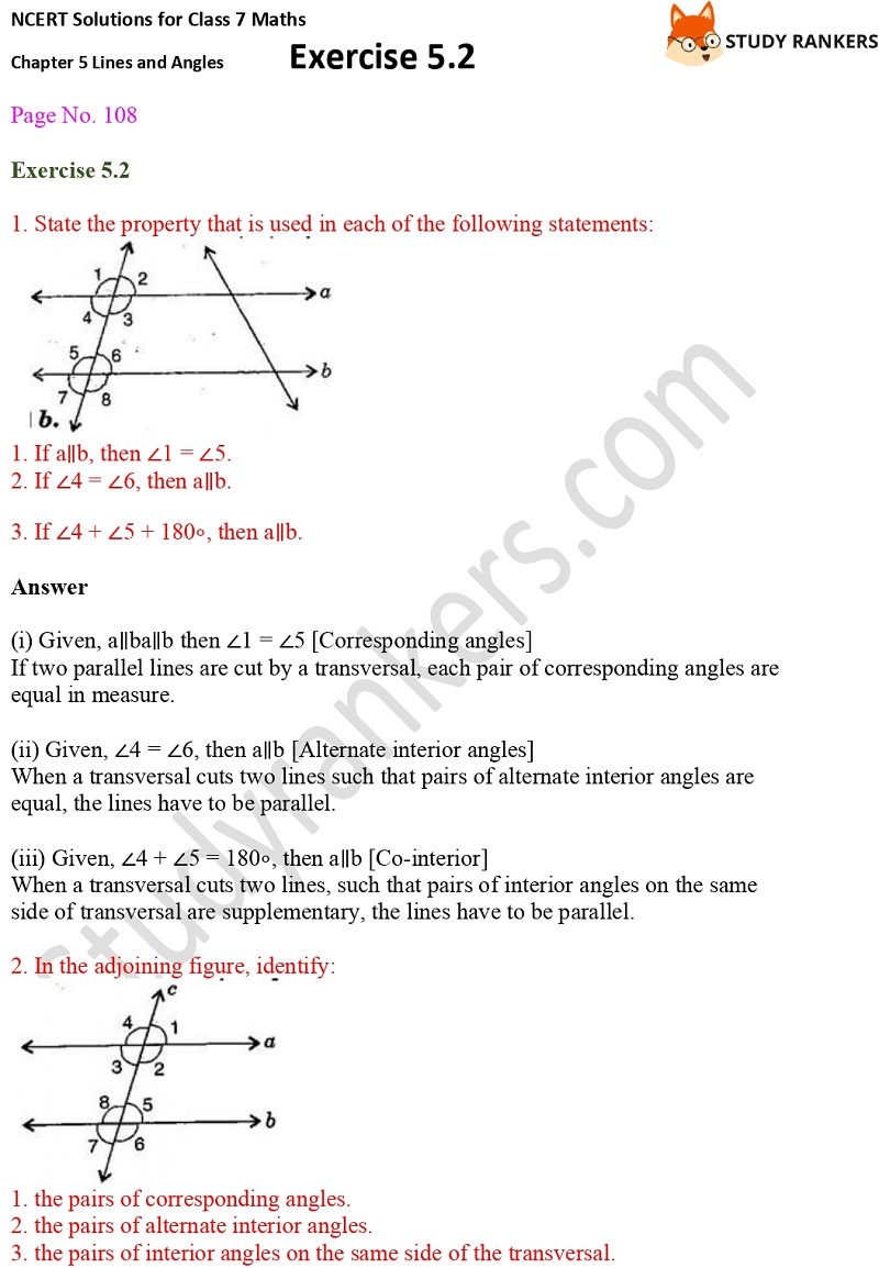 NCERT Solutions for Class 7 Maths Ch 5 Lines and Angles Exercise 5.2 1