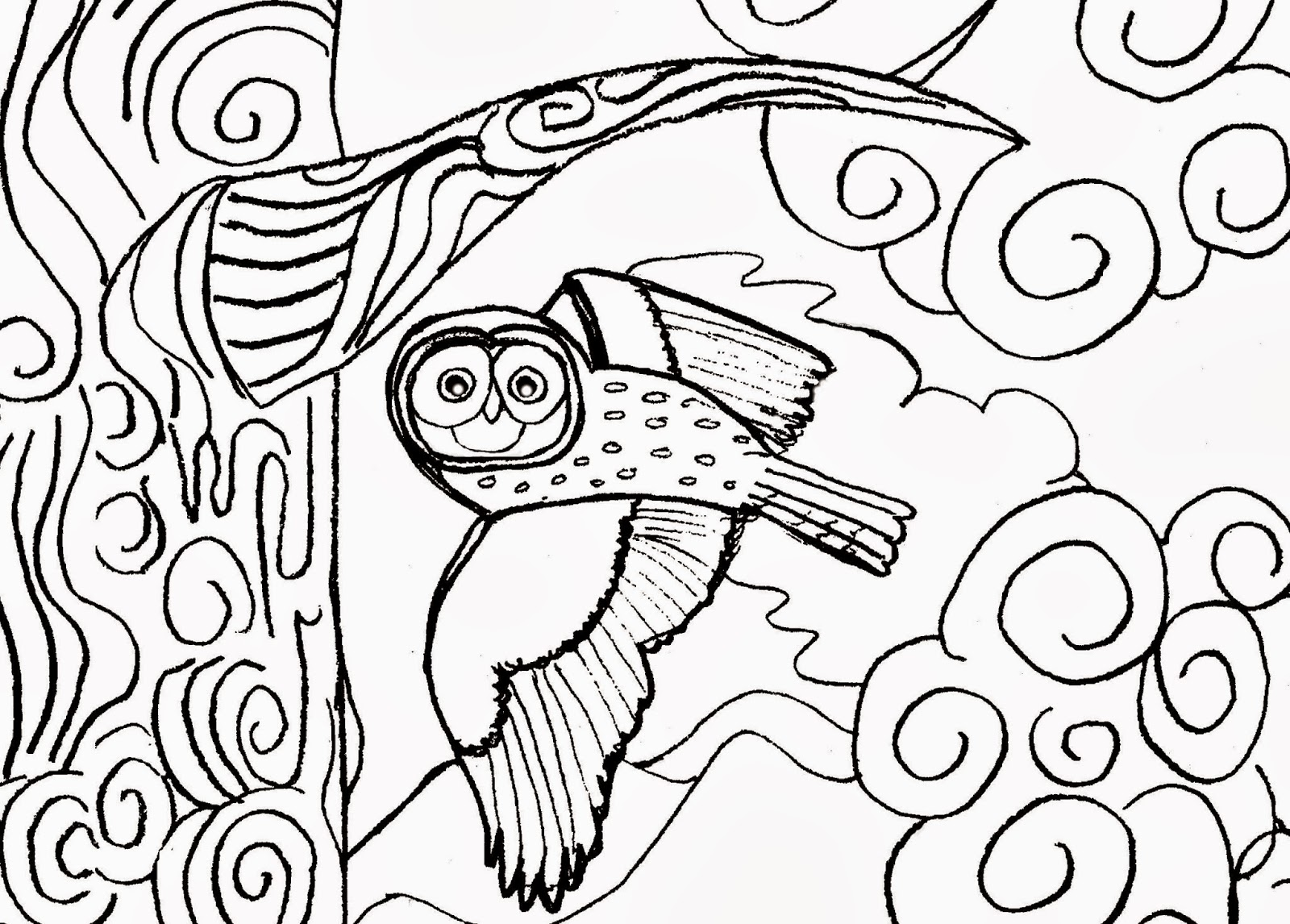 Christian Images In My Treasure Box: Home Drawn Owl Flying