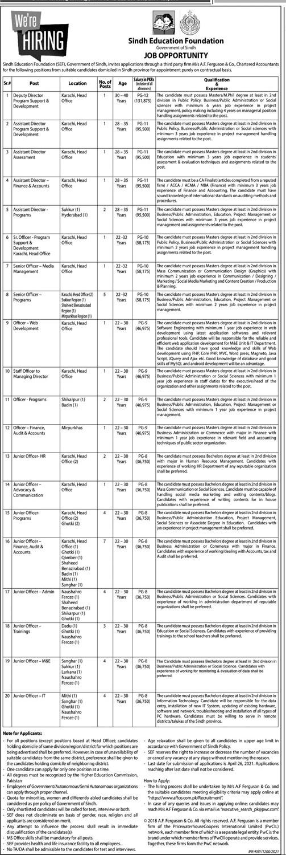 Sindh Education Foundation (SEF) Jobs 2021 in Pakistan