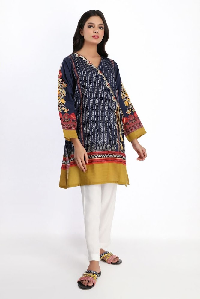 khaadi Blue embroidered kurta