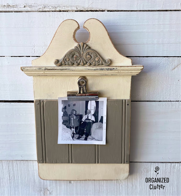 Photo of repurposed clipboard style photo holder