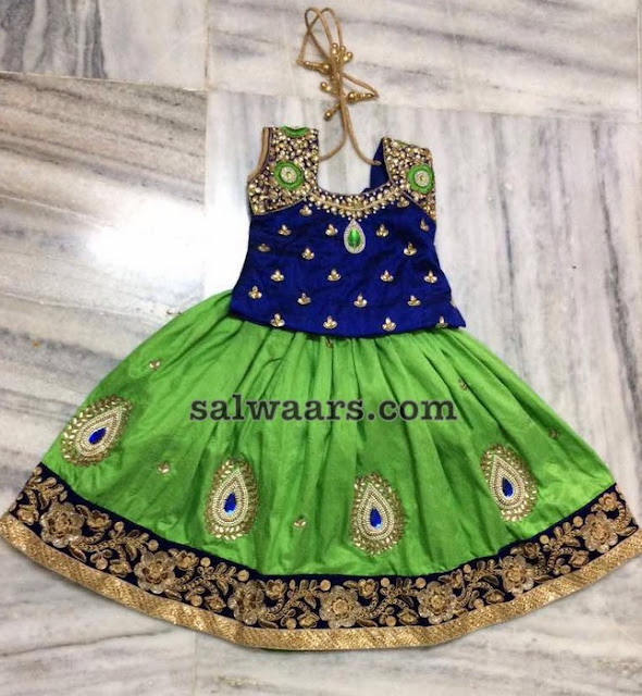 Green Kundan Lehenga with Blue Blouse