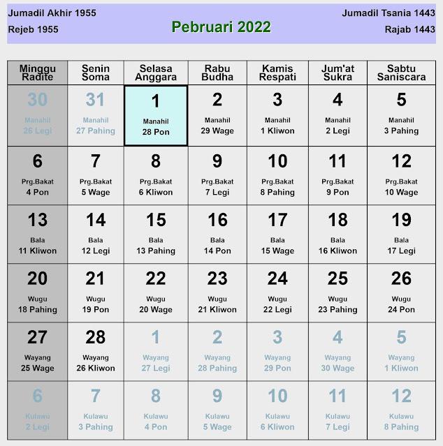 Kalender Jawa Februari 2022 Lengkap Hari Baik & Buruk