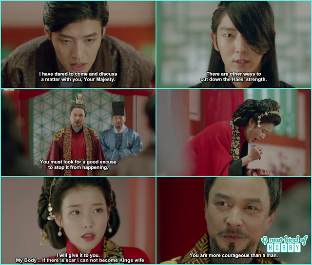 4th prince and 8th prince begged infront of the king not to do this marriage but in the end hae so cut her wrist to stop the marriage - Moon Lovers Scarlet Heart Ryeo - Episode 6 Review