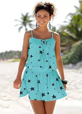 Navy Blur Star Printed Beach time dress