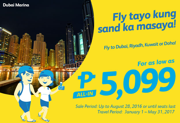 Cebu Pacific Manila to Dubai Promo Fare 2017
